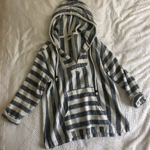 Striped Summer Mexican Poncho-M/L